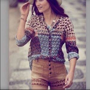 Free People Caravan Patchwork Button Down Top